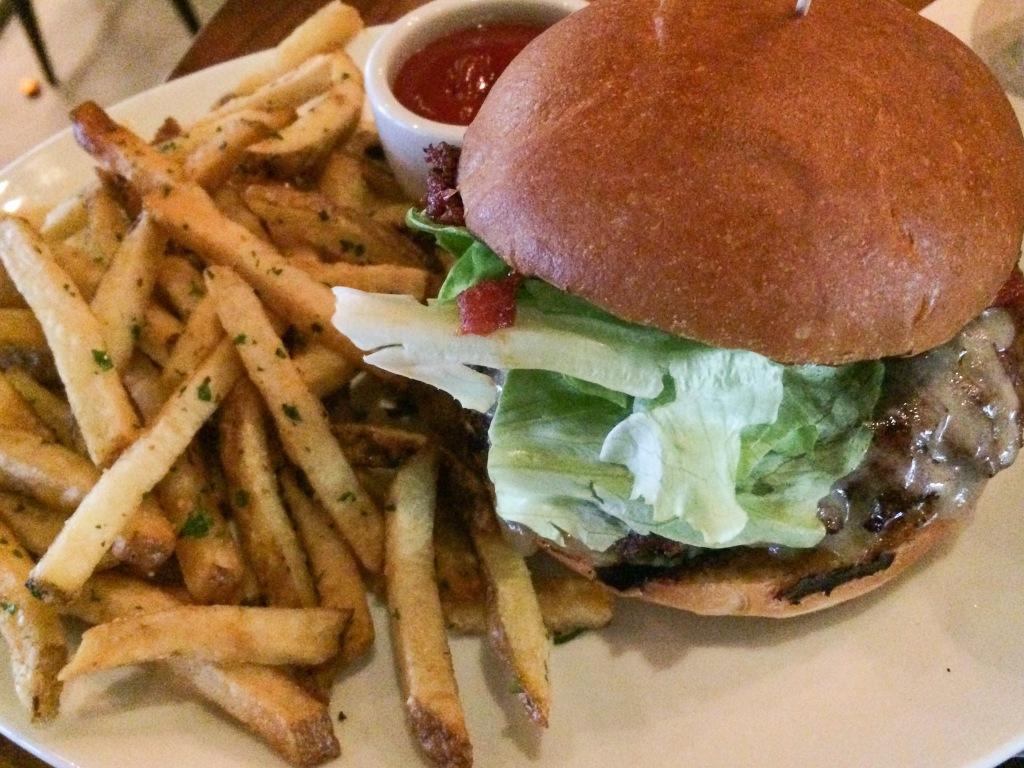 Niman Burger. smoked onion jam, swiss, cheddar, lemmon thyme aioli